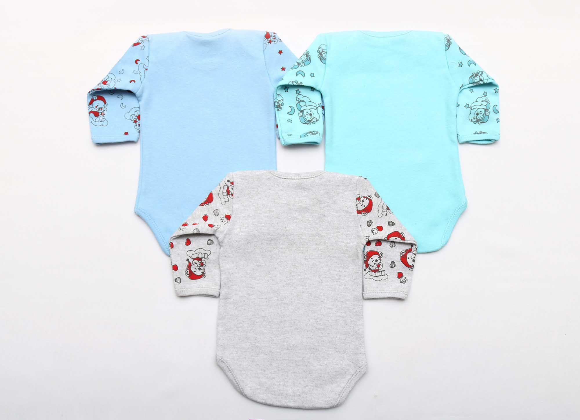Kit Body Bebê 3 Peças Menino Azul e Mescla Soneca