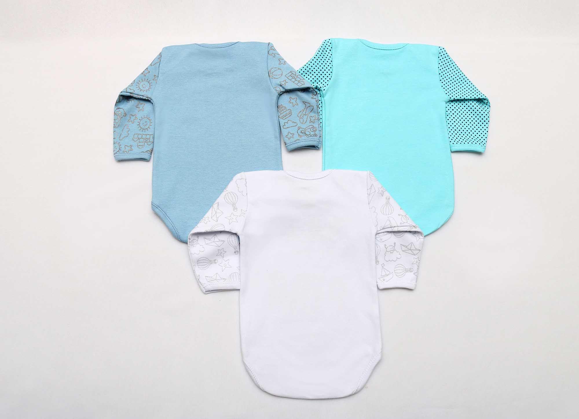 Kit Body Bebê 3 Peças Menino Branco e Azul Titia