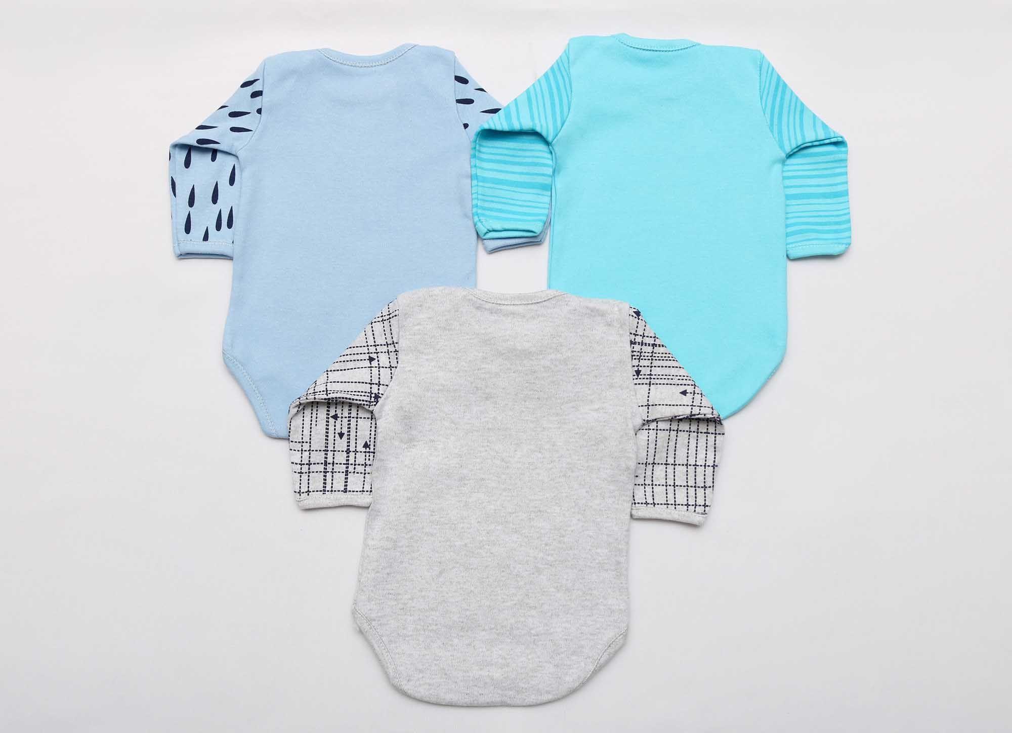 Kit Body Bebê 3 Peças Menino Mescla, Azul e Azul Água Projeto