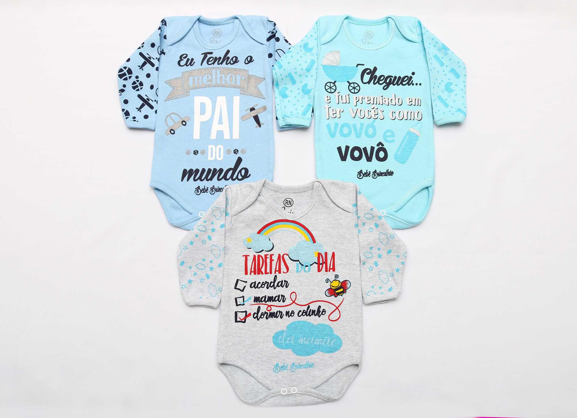 Kit Body Bebê 3 Peças Menino Mescla, Azul e Azul Água Tarefas