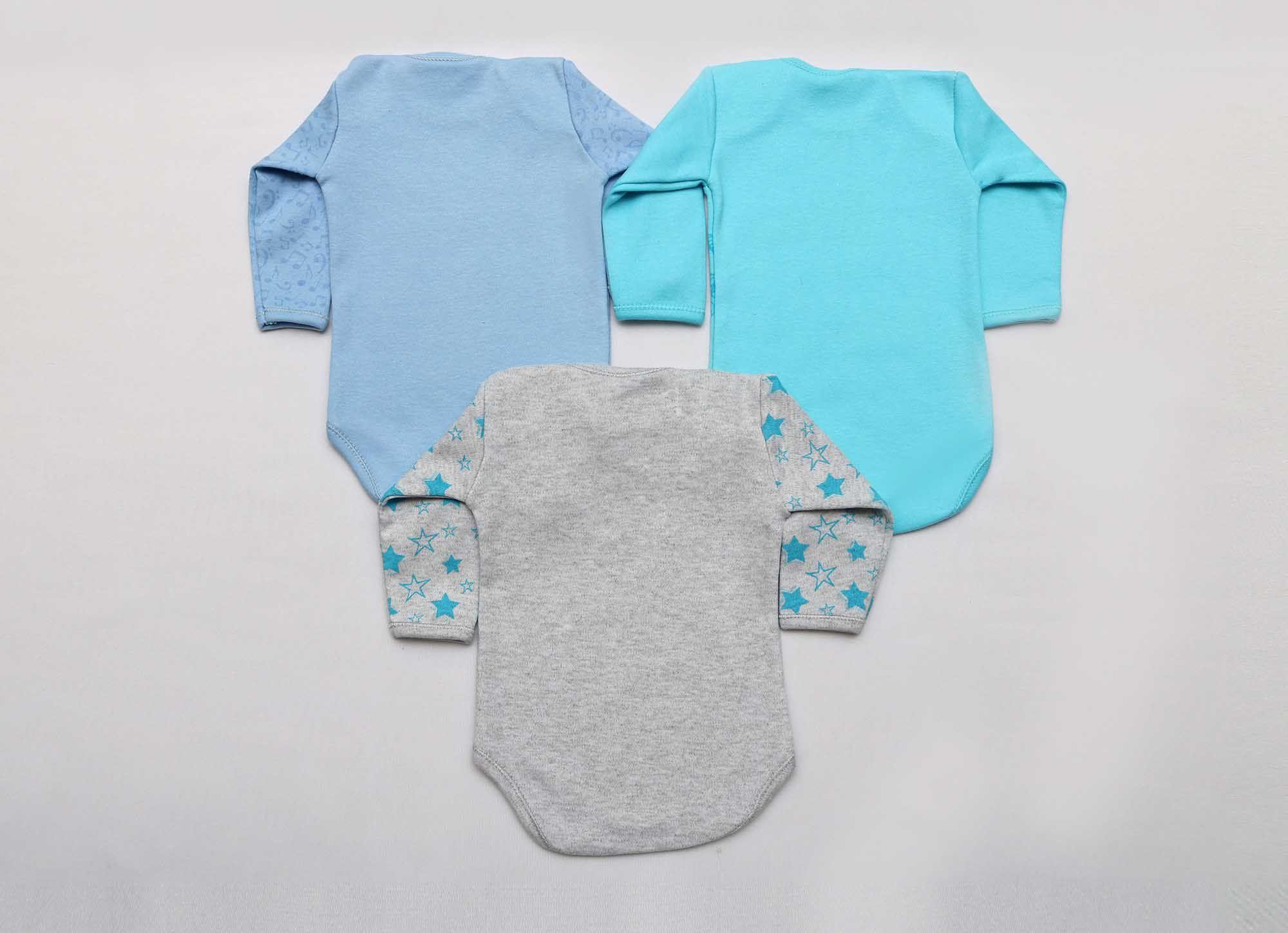 Kit Body Bebê 3 Peças Menino Mescla, Azul e Azul Água Titios