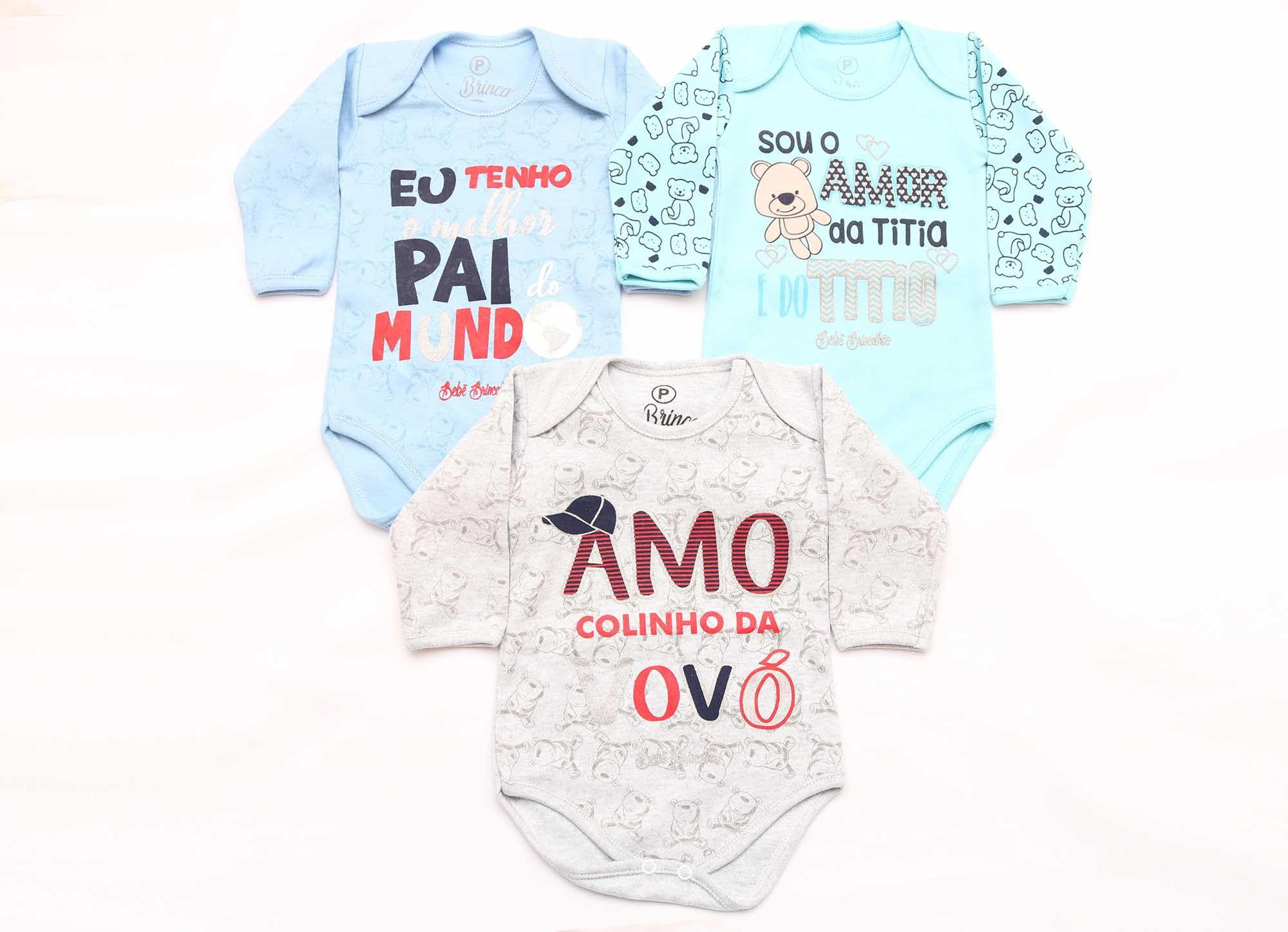 Kit Body Bebê 3 Peças Menino Mescla e Azul Colinho