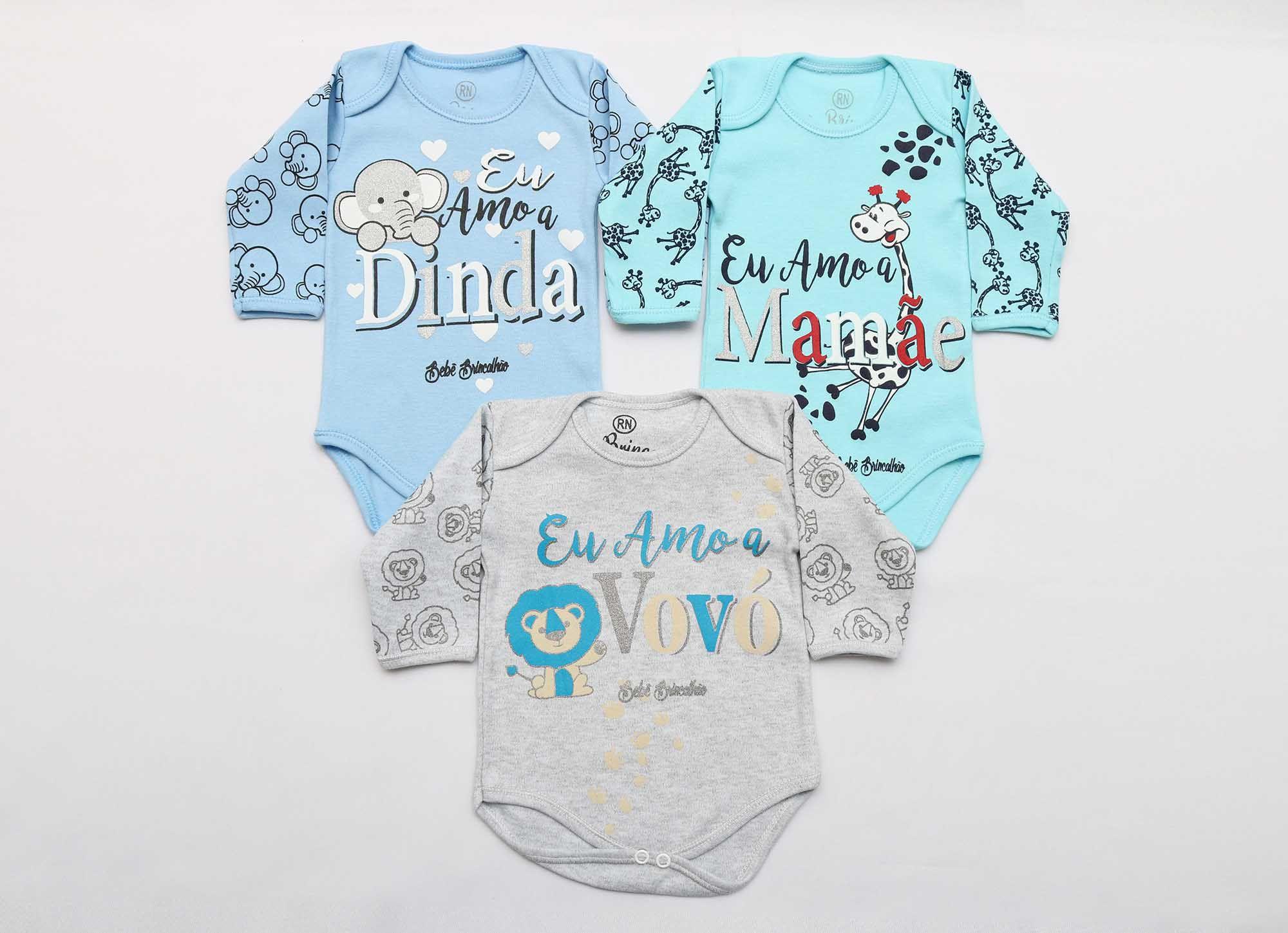 Kit Body Bebê 3 Peças Menino Mescla e Azul Dinda