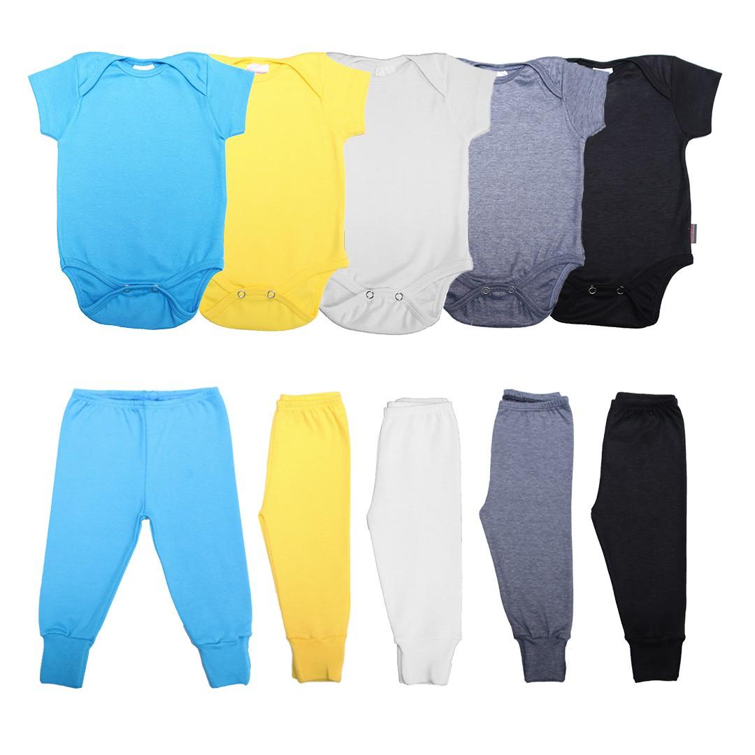 Kit Body Bebê com 10 Peças Menino em Malha M/C Básicos Azul