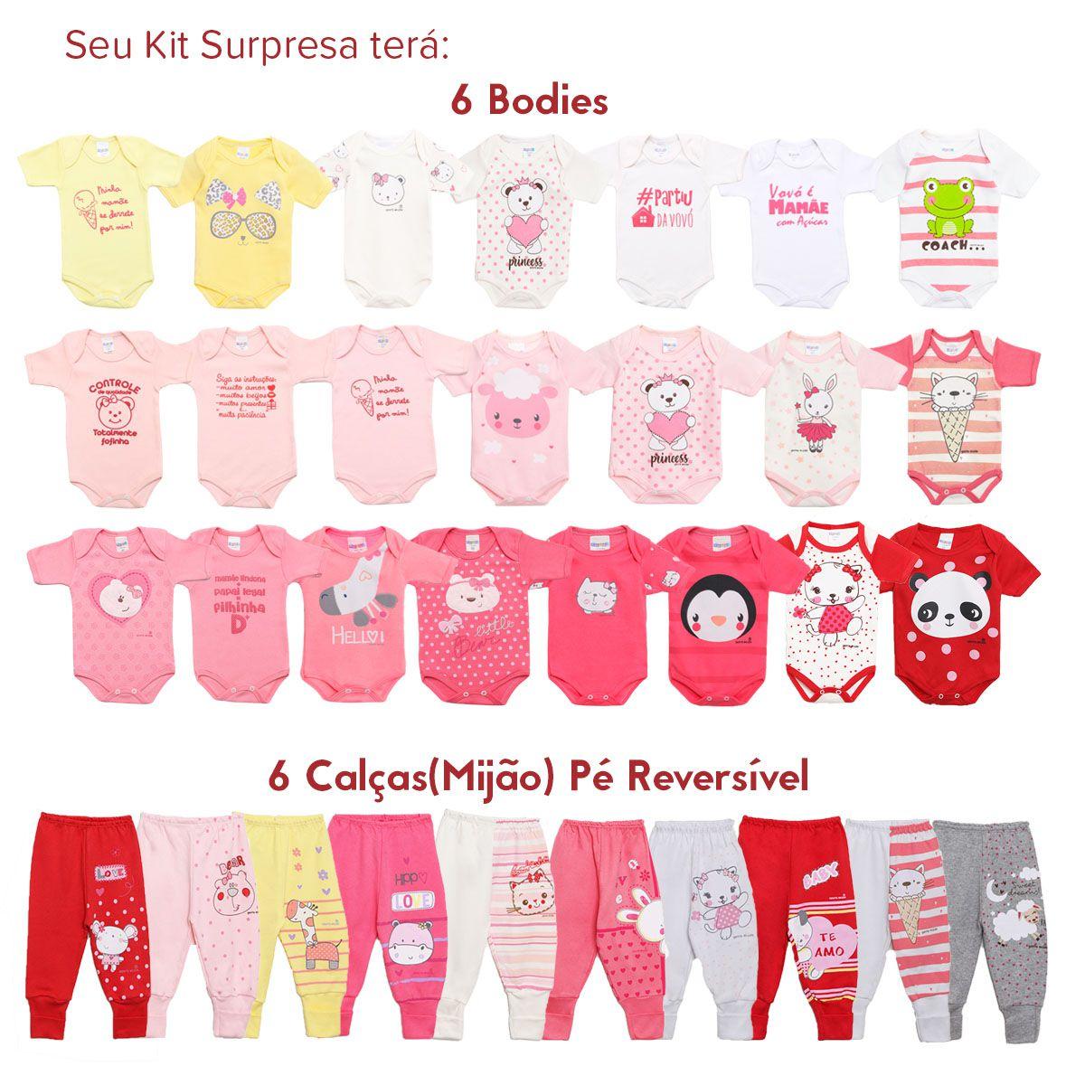 Kit Body Bebê com 12 peças Menina Estampa Surpresa Colorido