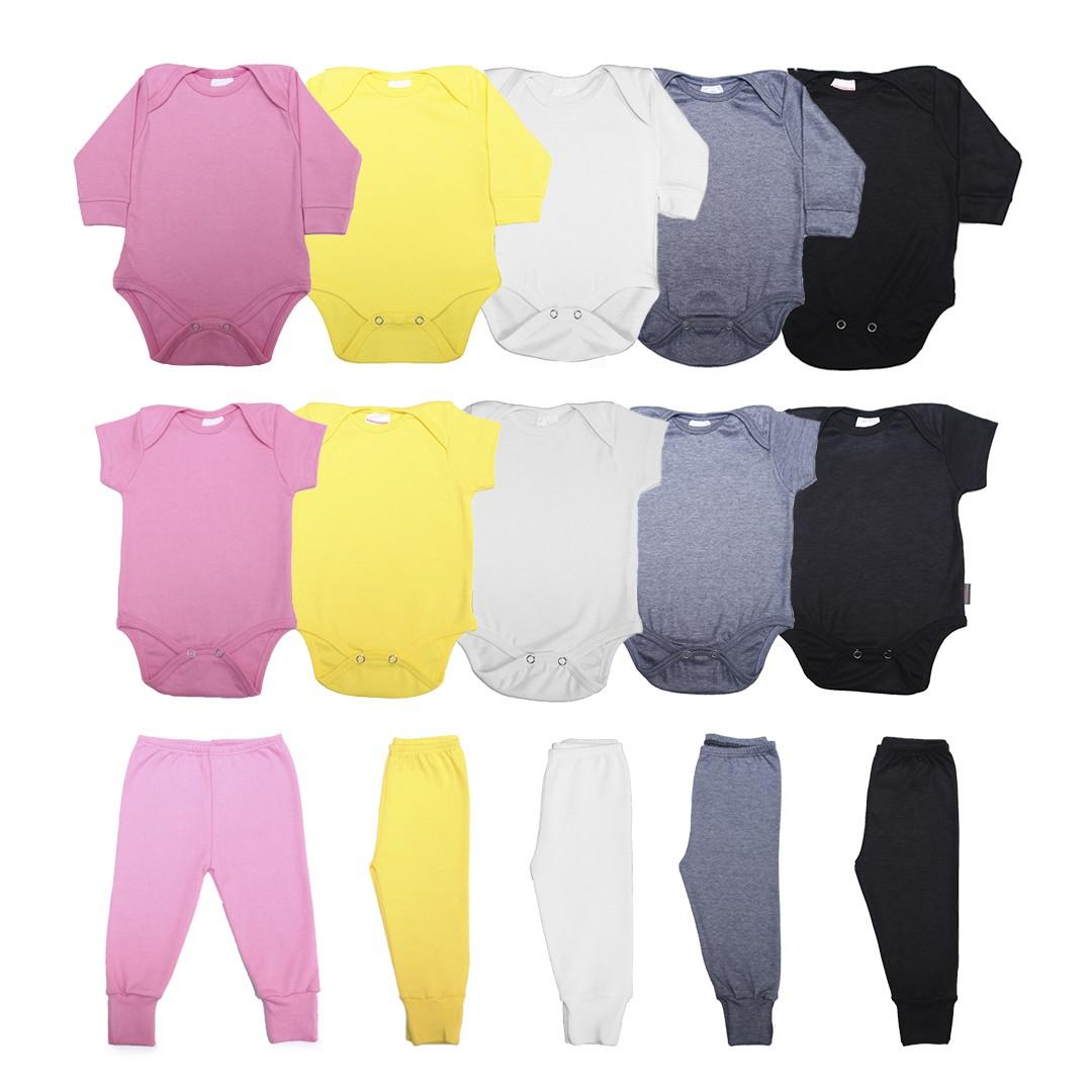 Kit Body Bebê com 15 Peças Menina em Malha Básicos Rosa