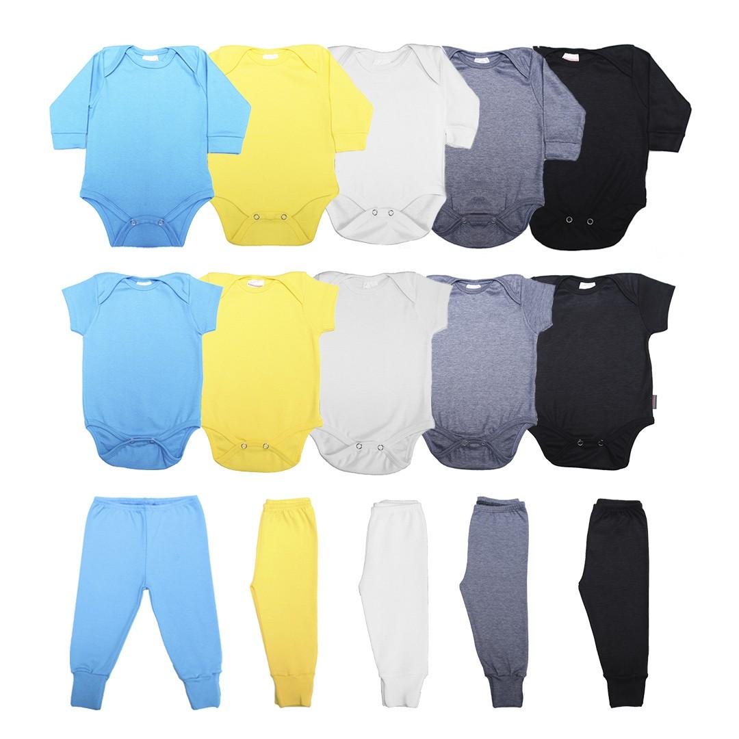 Kit Body Bebê com 15 Peças Menino em Malha Básicos Azul