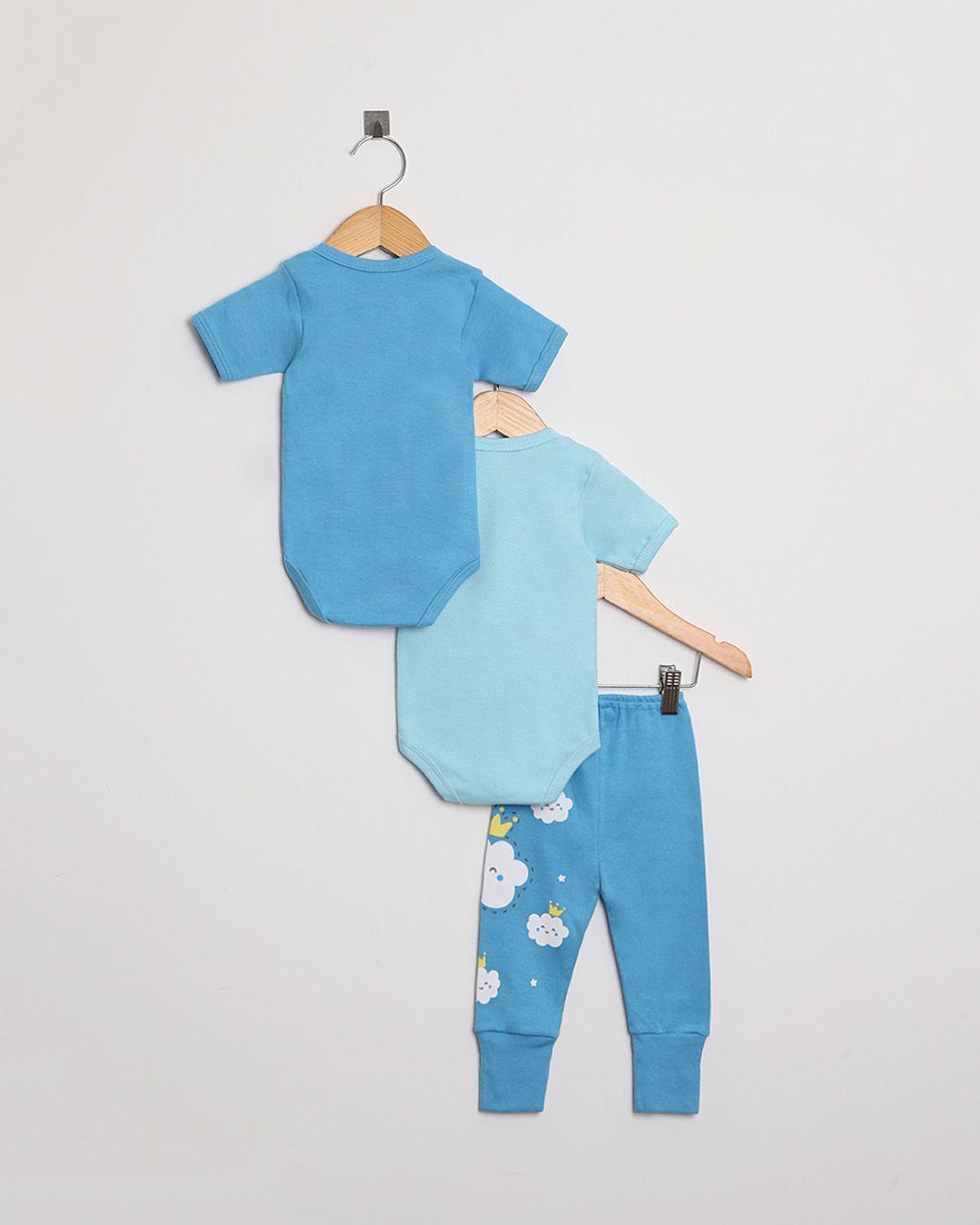 Kit Body Bebê com 3 peças menino Azul Nuvem - Estampa sortida