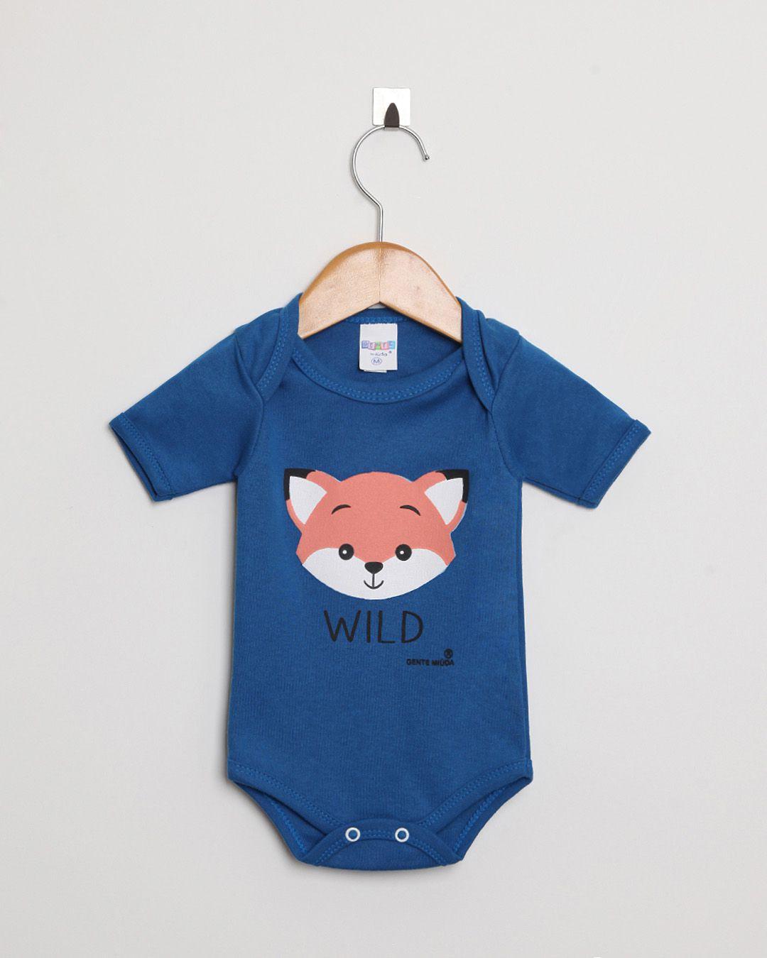 Kit Body Bebê com 2 peças menino Azul Royal Raposa