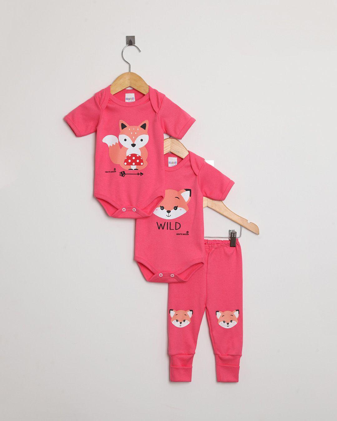 Kit Body Bebê com 3 peças menina Pink Raposa - Estampa sortida