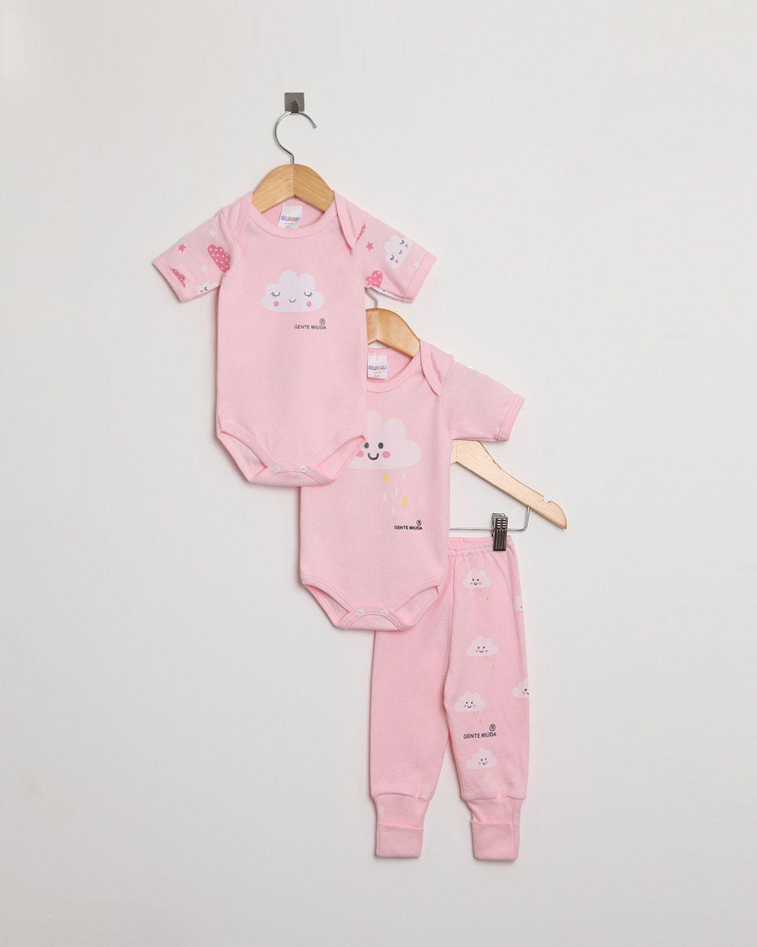Kit Body Bebê com 3 peças menina Rosa Claro Nuvens