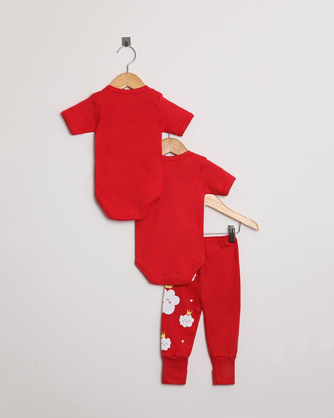 Kit Body Bebê com 3 peças menina Vermelho Nuvens - Estampa sortida