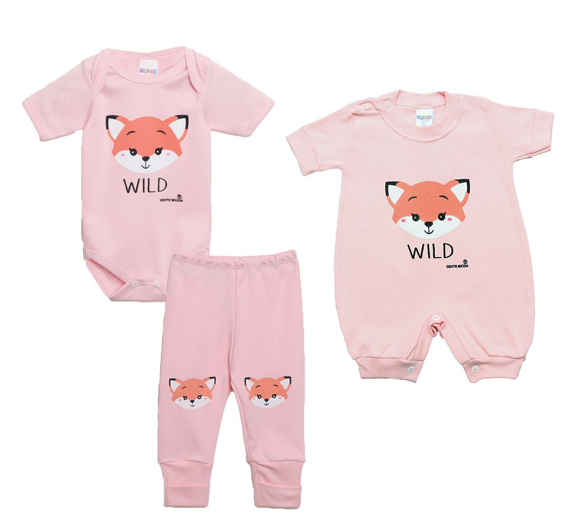 Kit Body Bebê com 3 Peças Menina Raposa Rosa Claro