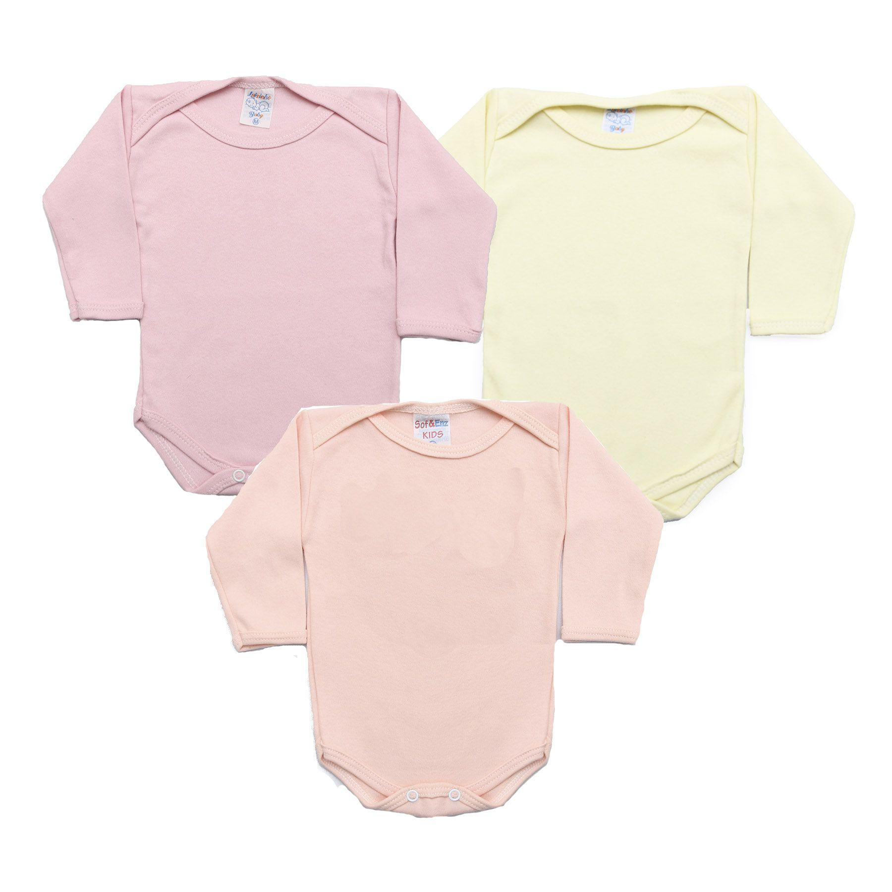 Kit Body Bebê com 3 Peças Menina Rosa, Rosê e Amarelo Claro