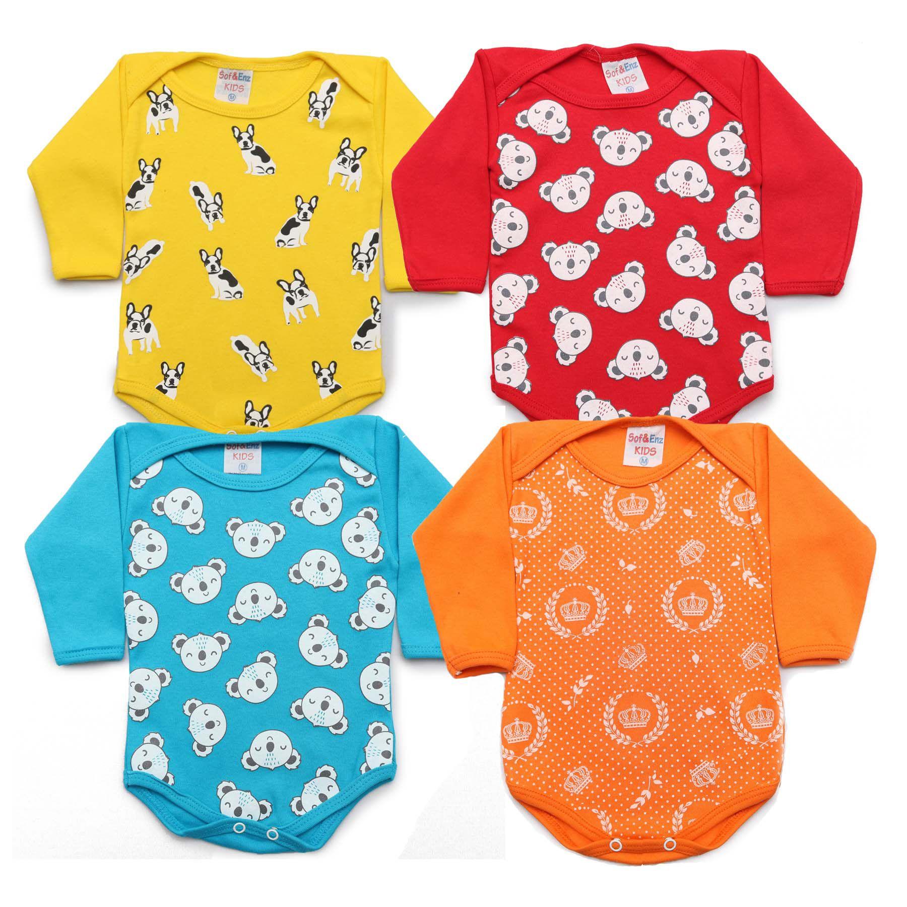 Kit Body Bebê com 3 Peças Menino Amarelo, Vermelho, Laranja e Azul