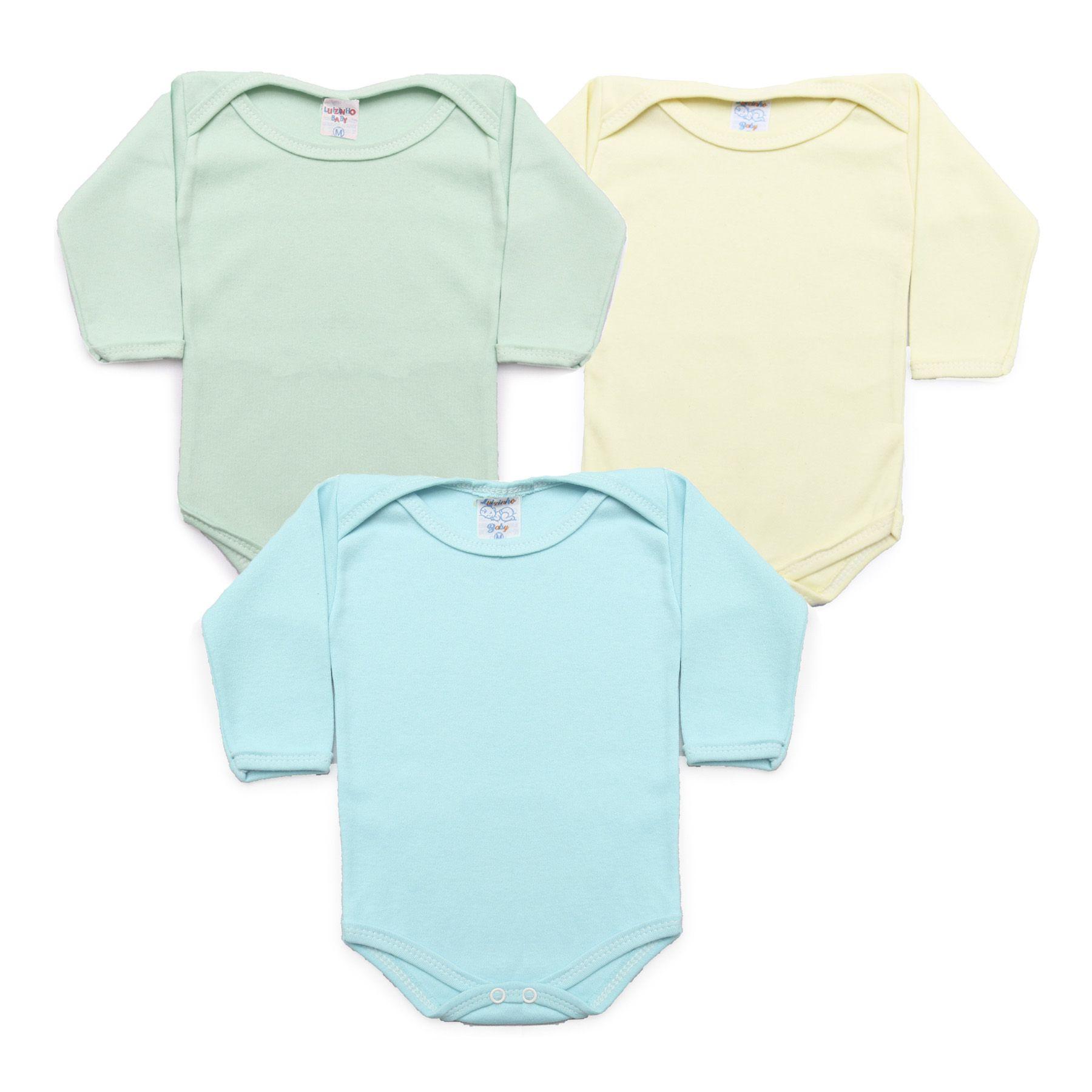 Kit Body Bebê com 3 Peças Menino Azul Claro, Verde Água e Amarelo Claro