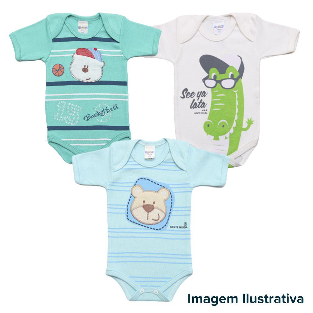 Kit Body Bebê com 3 peças Menino Estampa Surpresa
