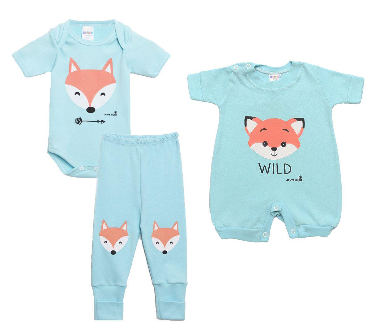 Kit Body Bebê com 3 Peças Menino Raposa Azul Claro