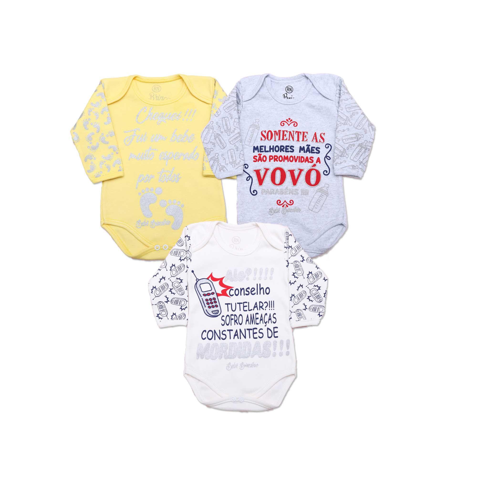 Kit Body Bebê com 3 Peças Unissex Frases