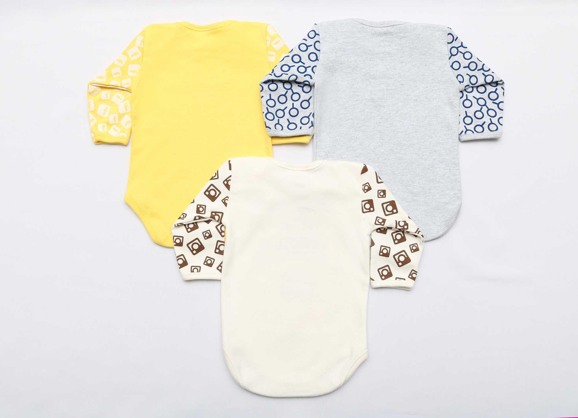 Kit Body Bebê com 3 Peças Unissex Redes Sociais