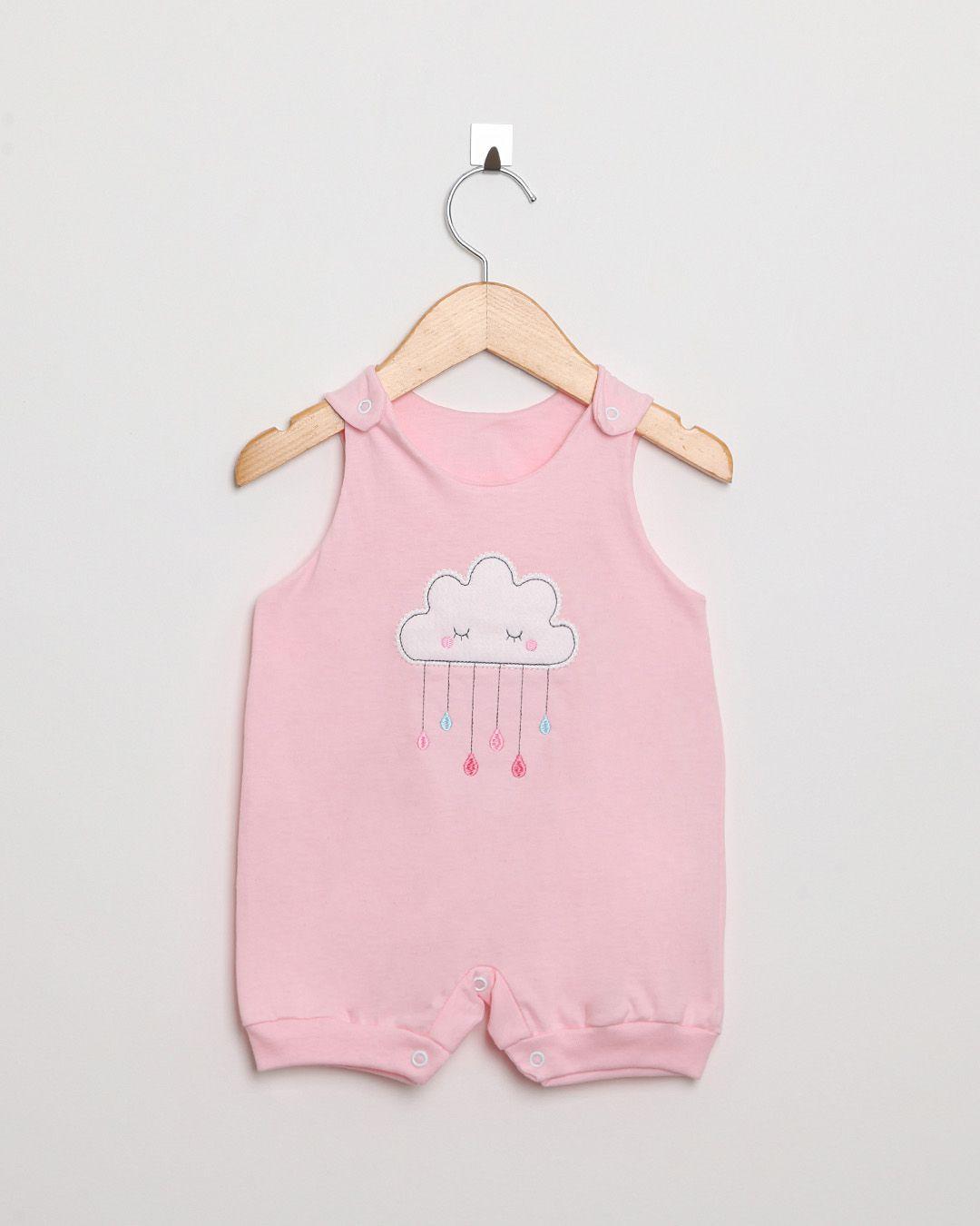 Kit Body Bebê com 5 Peças menina Rosa Claro Nuvens sortidas