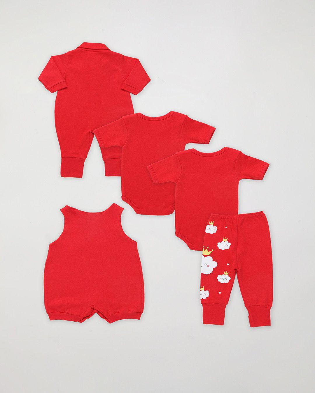Kit Body Bebê com 5 Peças menina Vermelho Nuvens - Estampa sortida