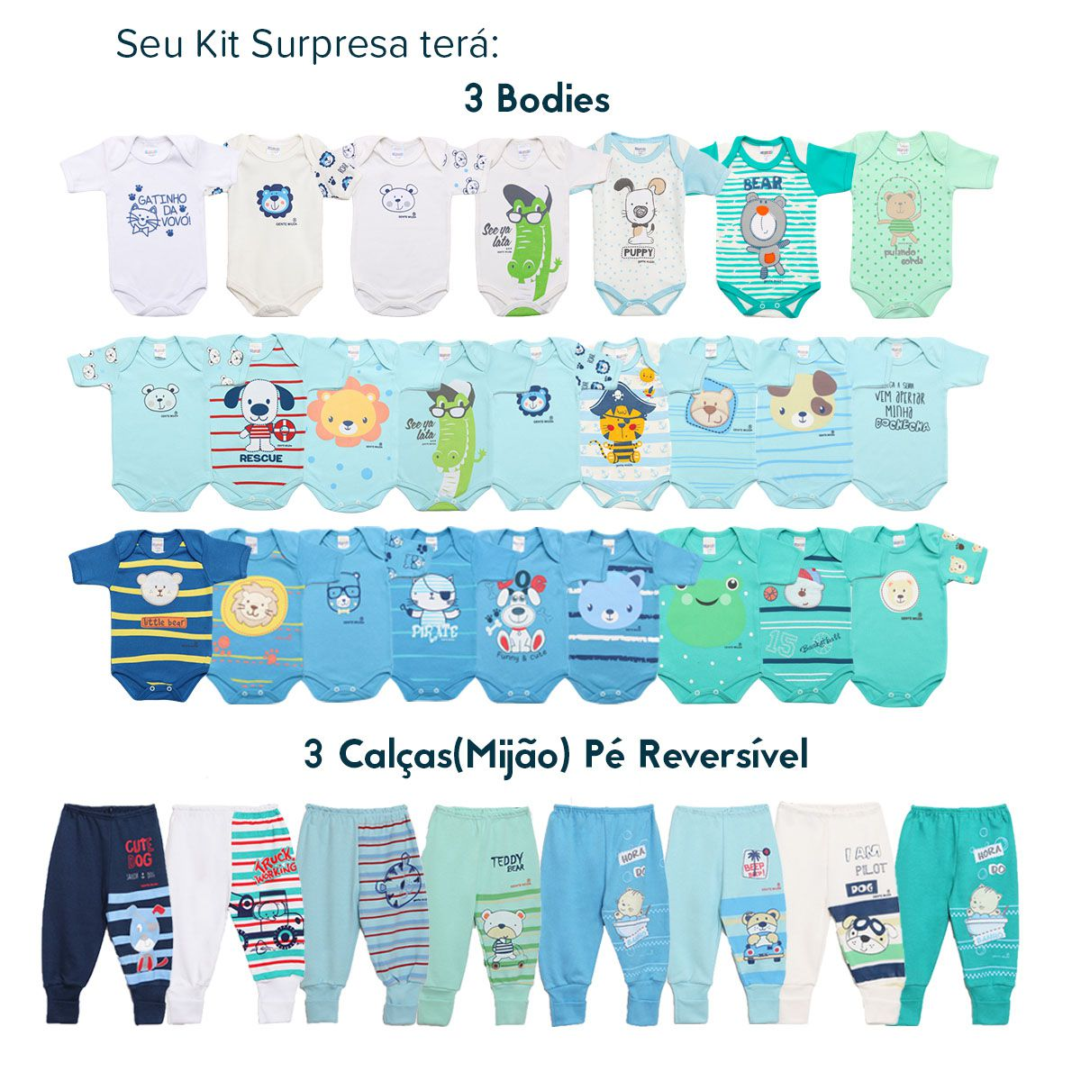 Kit Body Bebê com 6 peças Menino Estampa Surpresa Colorido