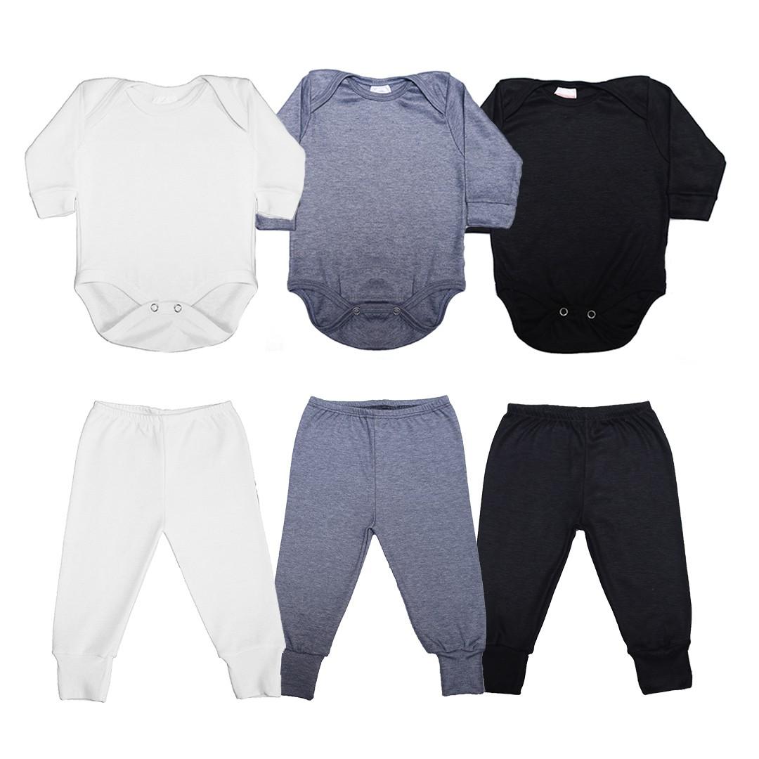 Kit Body Bebê com 6 Peças Unissex em Malha M/L Básicos