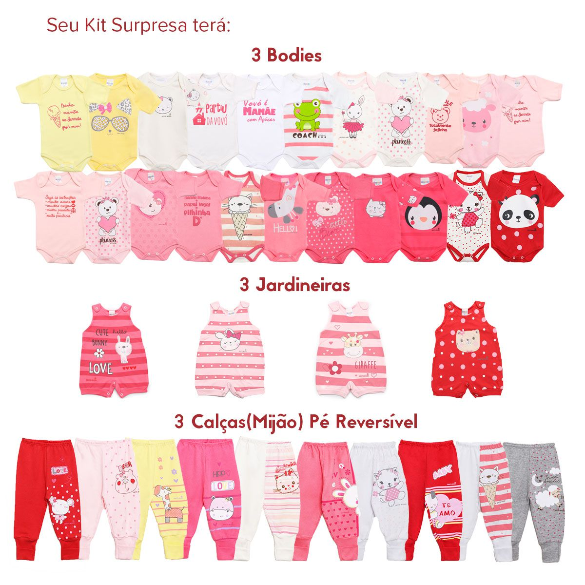 Kit Body Bebê com 9 peças Menina Estampa Surpresa Colorido
