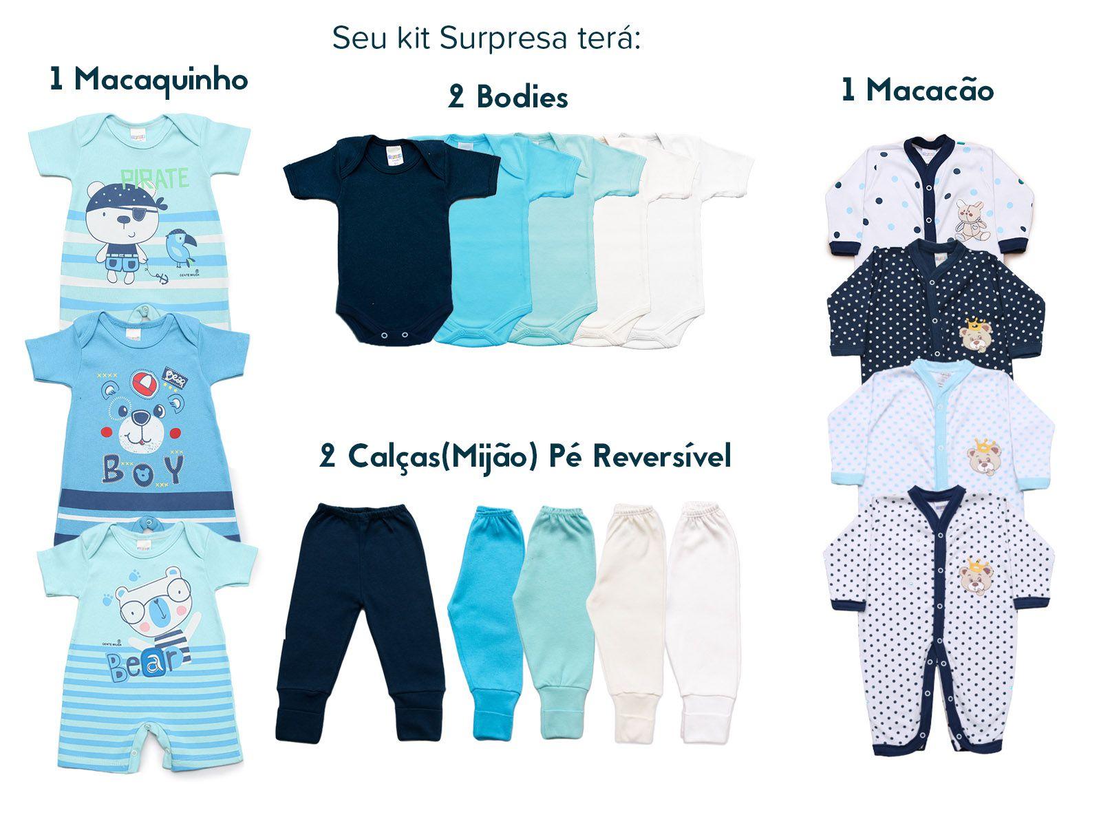 Kit Body Bebê com 9 peças Menino Estampa Surpresa Colorido