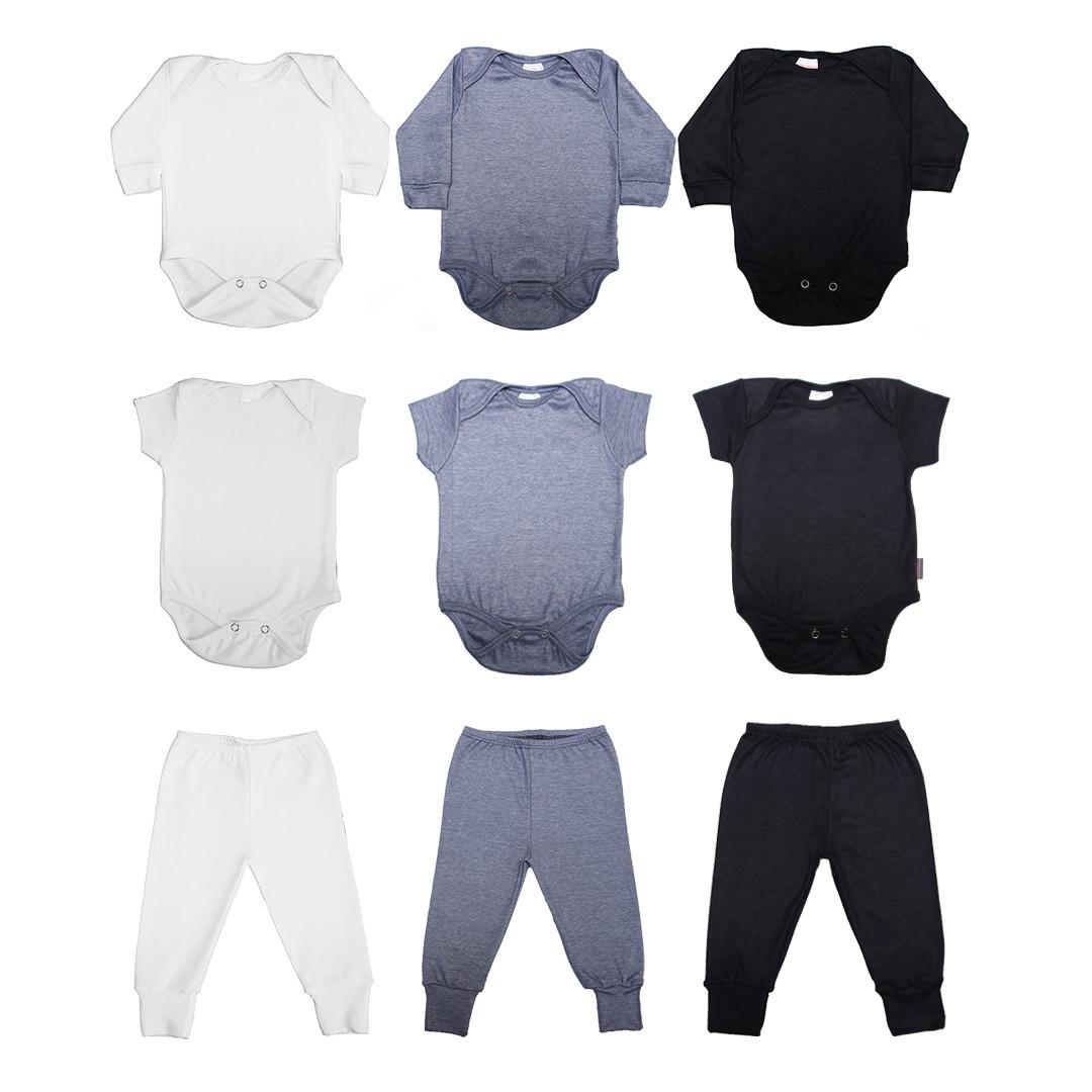 Kit Body Bebê com 9 Peças Unissex em Malha Básicos