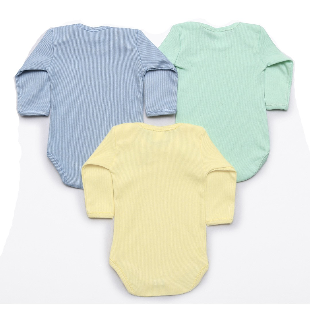 Kit Body Bebê M/L Canelado Bege, Azul e Verde