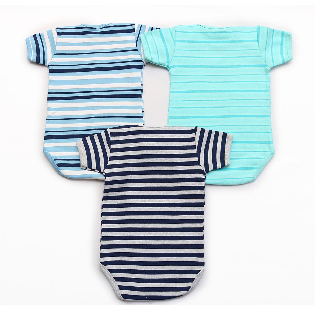 Kit Body Bebê M/C Listras Azul