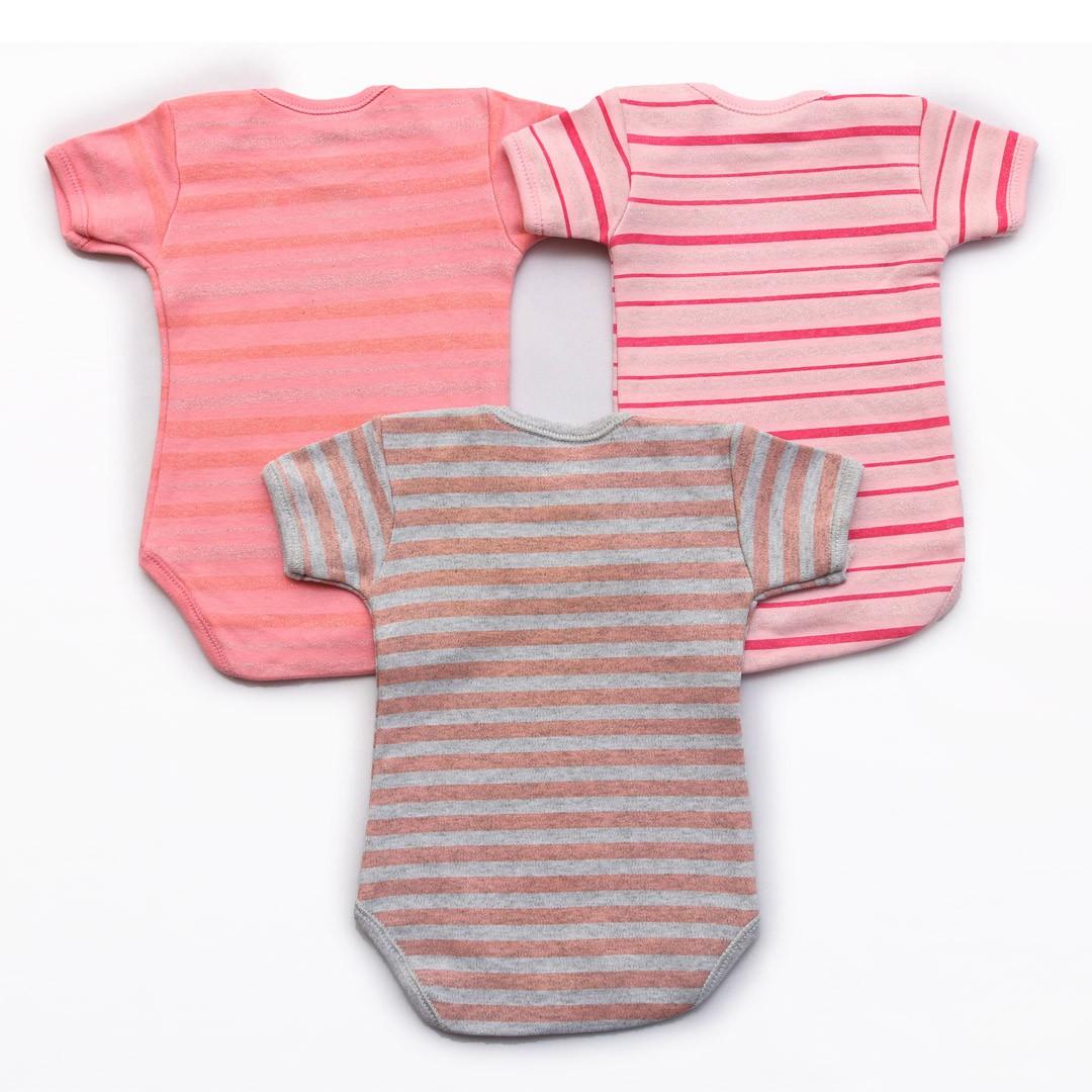 Kit Body Bebê M/C Listras Rosa