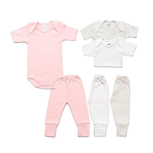 Kit Body e Calça Bebê com 6 Peças Menina Básicos