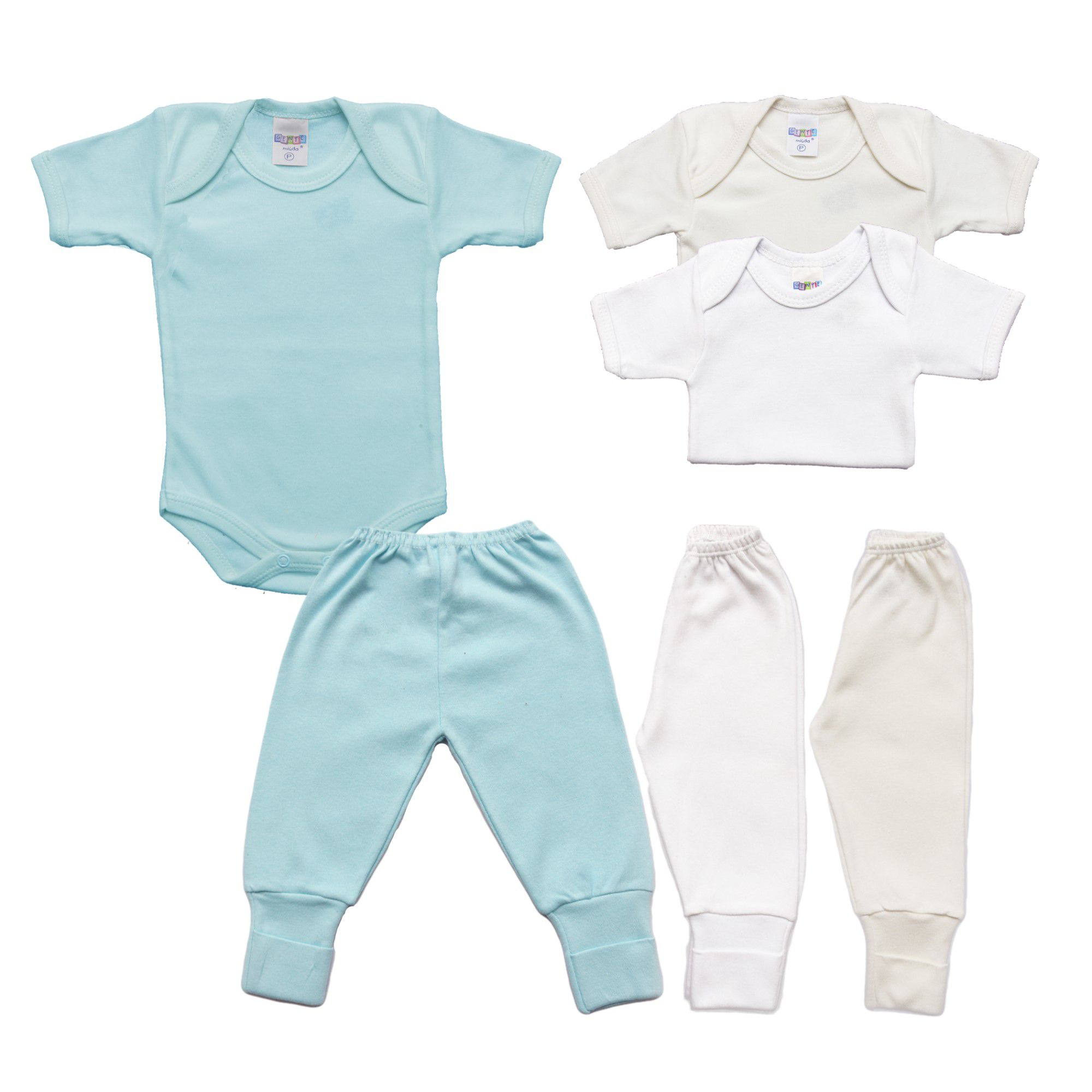 Kit Body e Calça Bebê com 6 Peças Menino Básicos