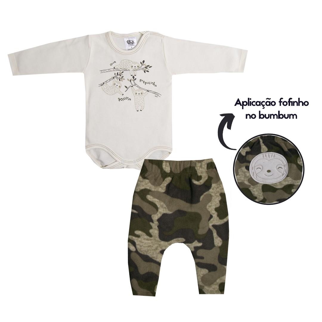 Kit Body e Calça Bebê Menino Camuflado e Branco