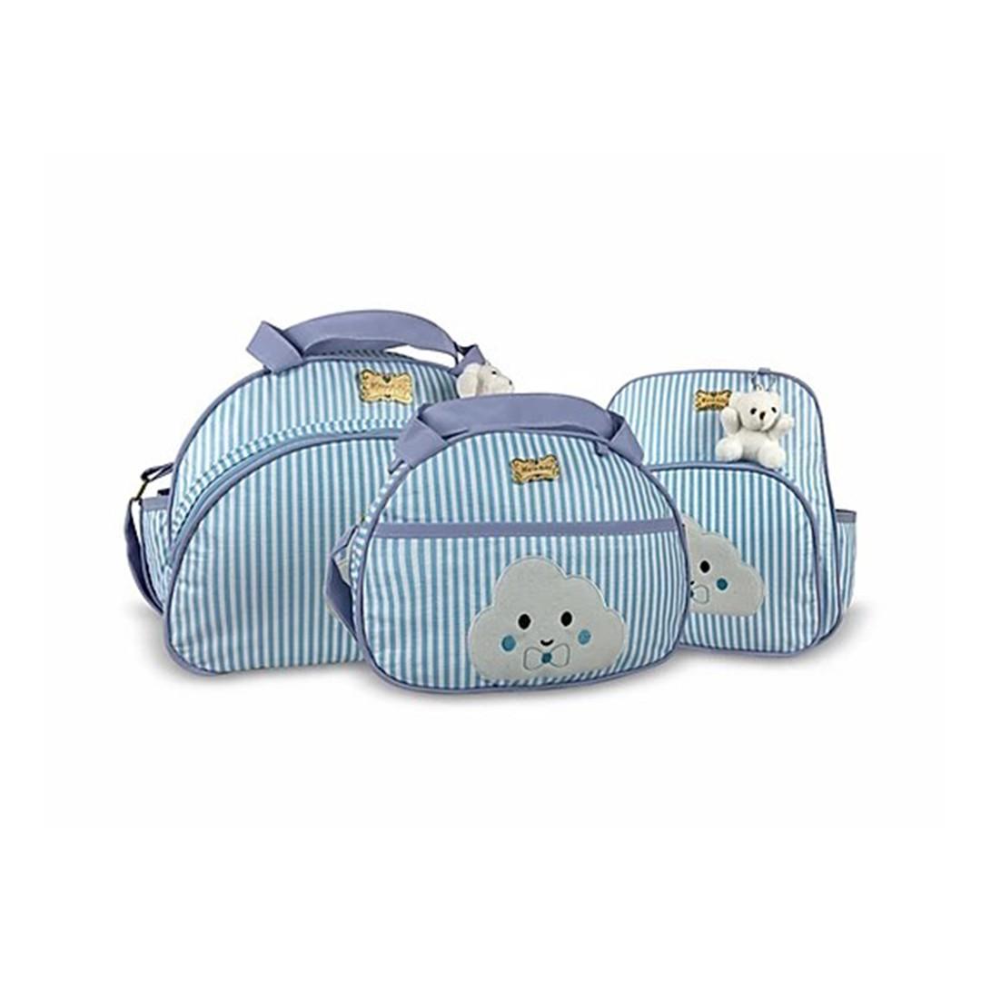 Kit Bolsa, Frasqueira e Mochila Maternidade Listras Nuvem Azul