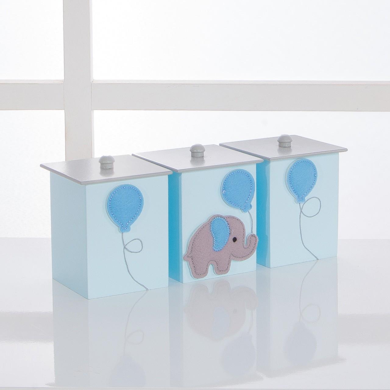 Kit de Higiene Bebê com 7 Peças Elefantes Azul