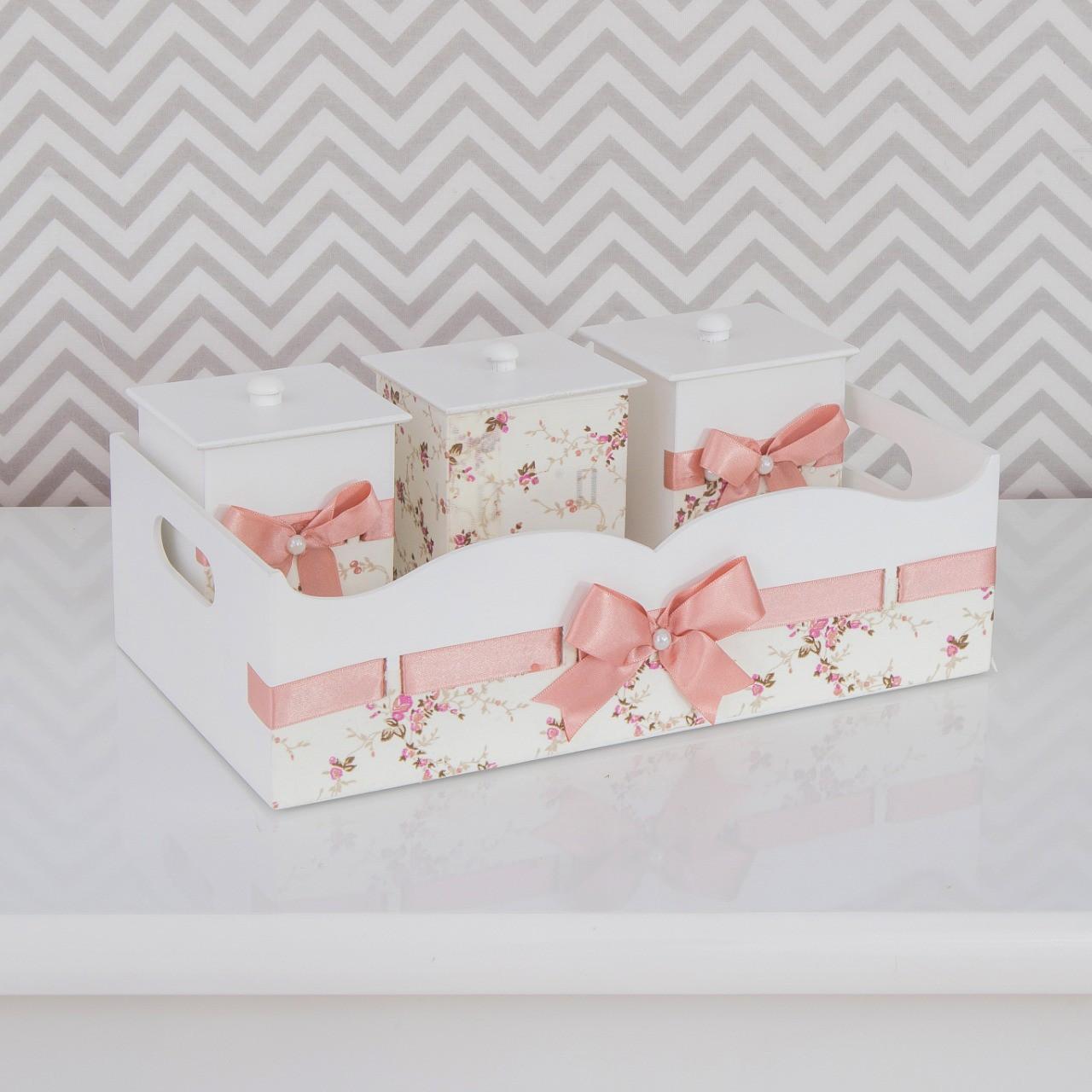 Kit de Higiene Bebê com 7 Peças Passa Fita Rosa e Branco