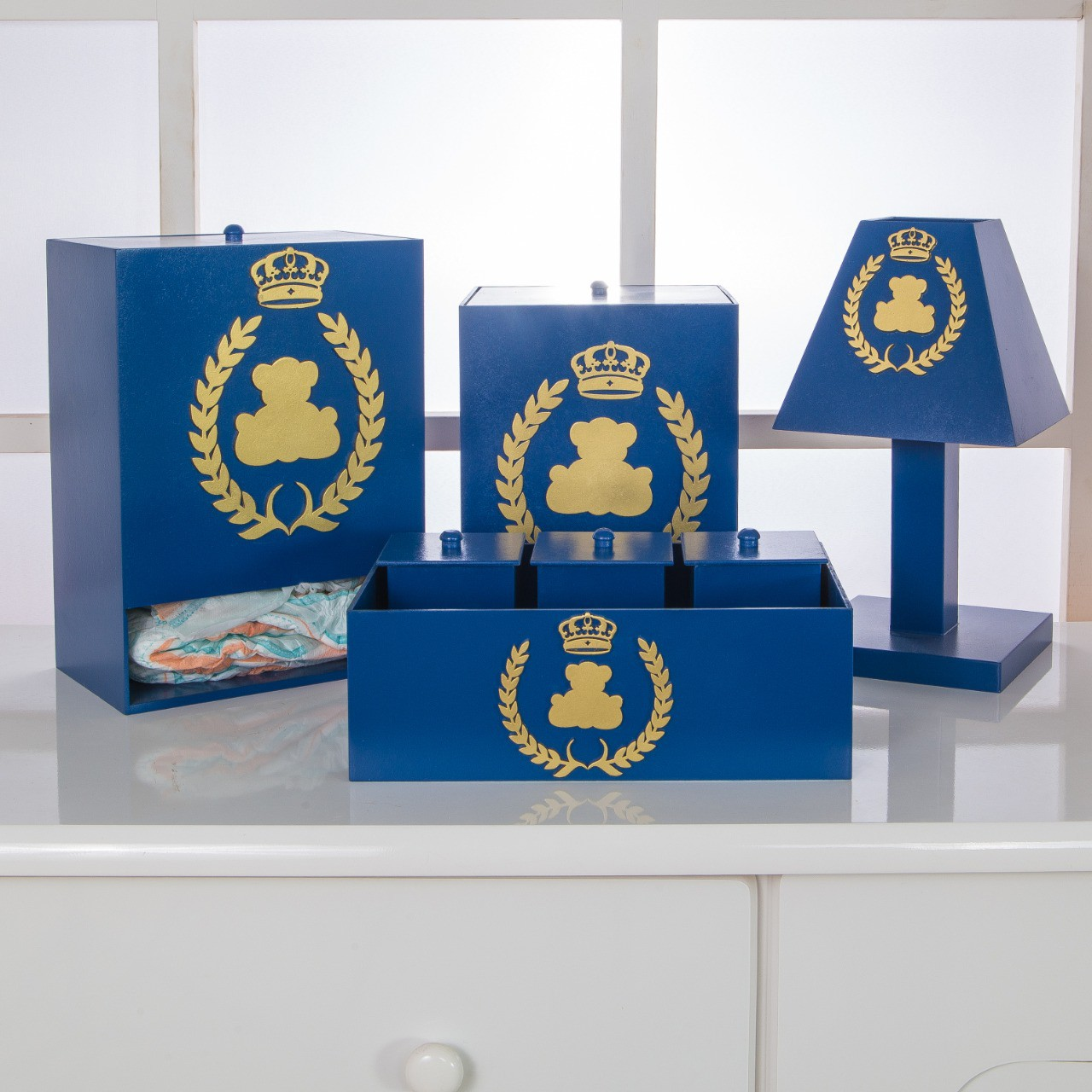 Kit de Higiene Bebê com 7 Peças Realeza Azul Marinho