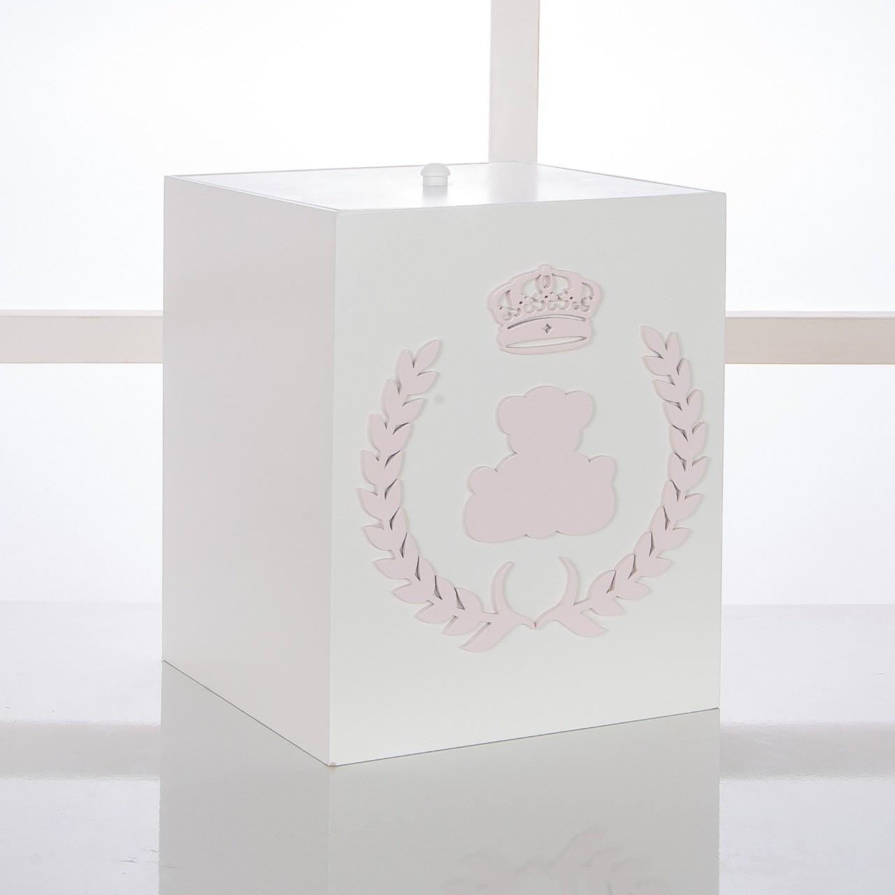 Kit de Higiene Bebê com 7 Peças Realeza Branco e Rosa