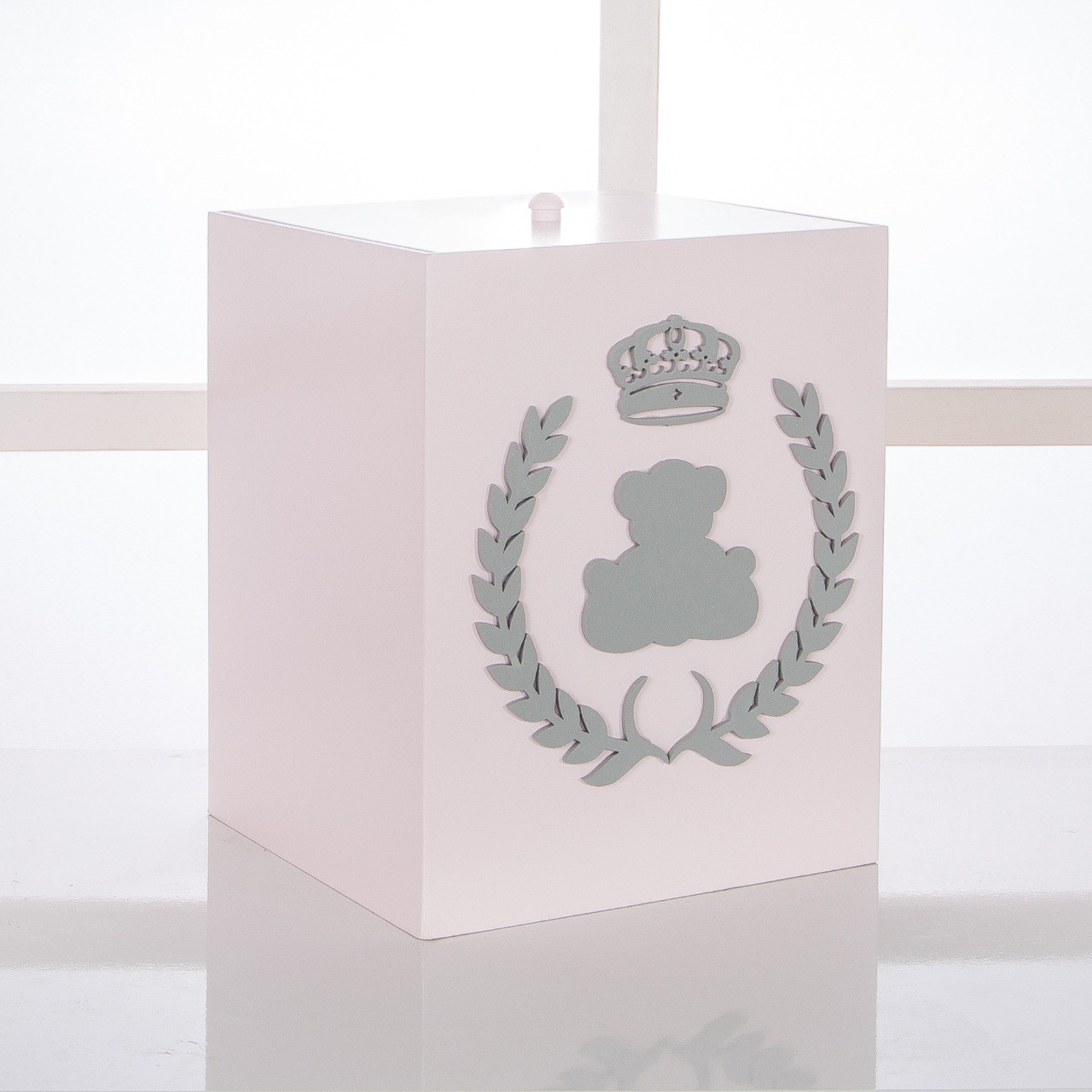 Kit de Higiene Bebê com 7 Peças Realeza Rosa e Cinza