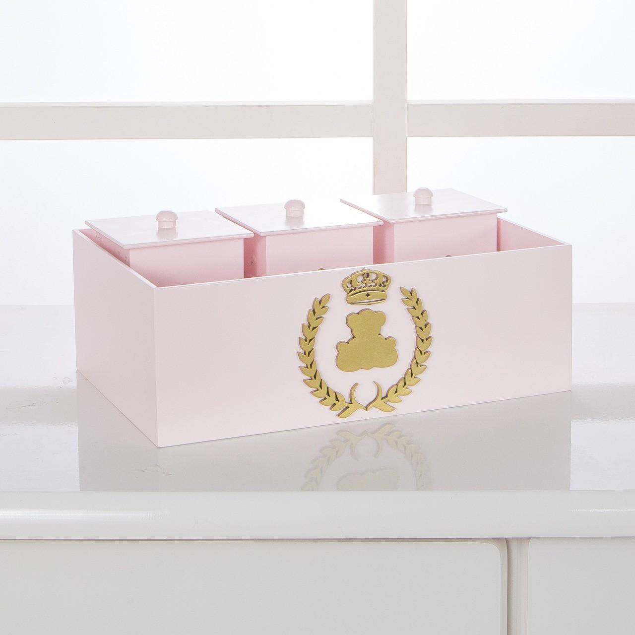 Kit de Higiene Bebê com 7 Peças Realeza Rosa e Dourado