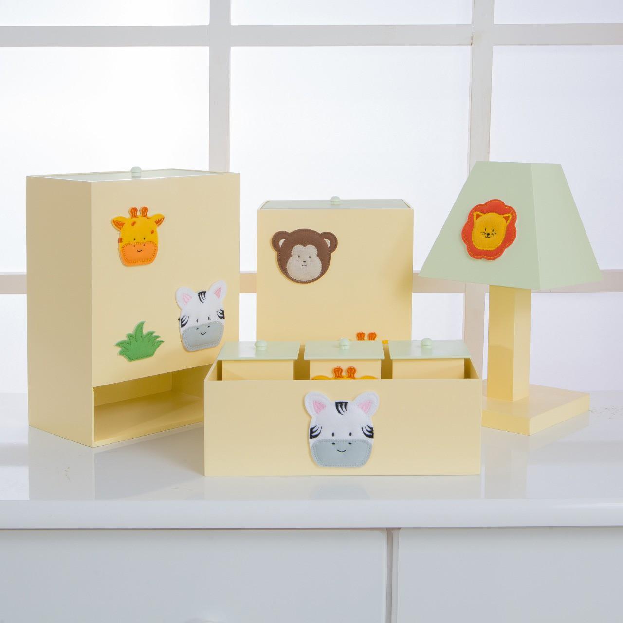 Kit de Higiene Bebê com 7 Peças Safari Amarelo