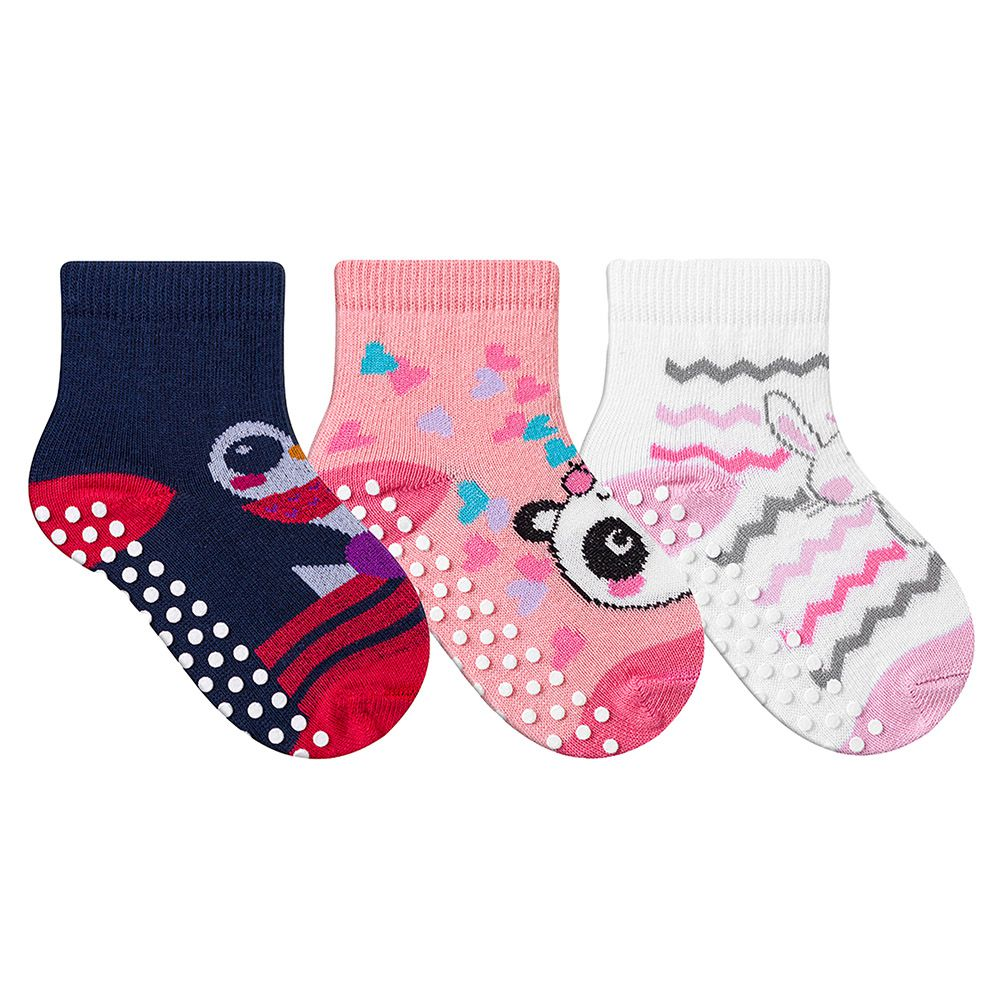 Kit Meias Bebê Primeiros Passos 3 Pares Antiderrapante Menina Pink