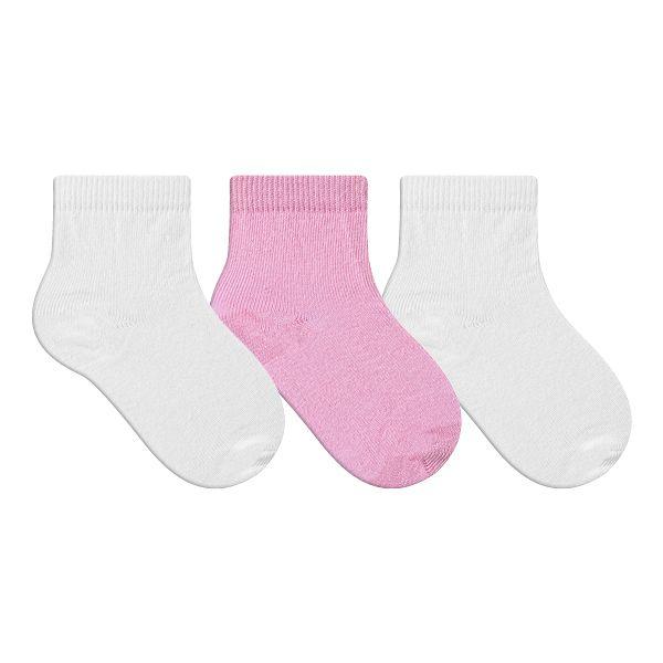 Kit Meias Bebê Primeiros Passos 3 Pares Lisa Menina Rosa e Branca