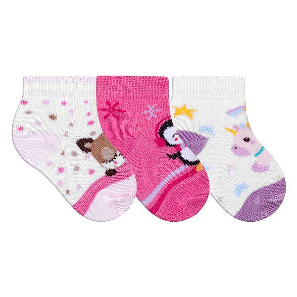 Kit Meias Recém-Nascido 3 Pares Menina Estampada Pink e Branco