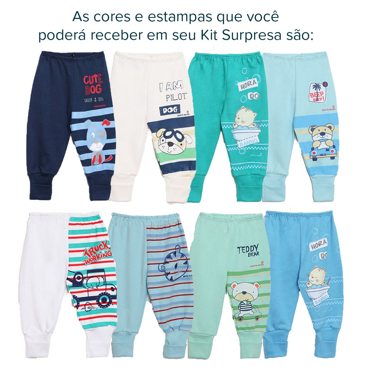 Kit Mijão Bebê 7 Peças Menino Surpresa Coloridos