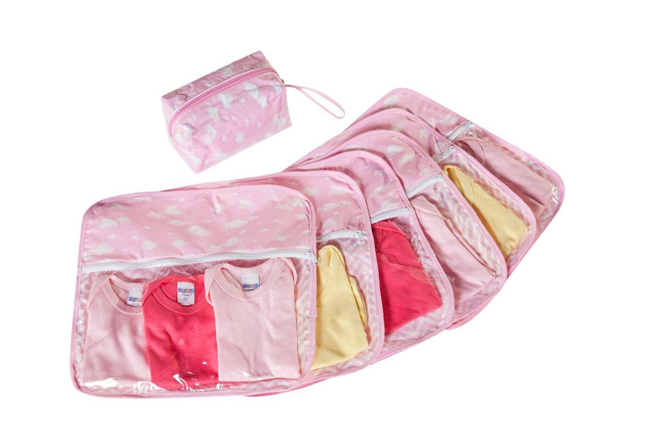Kit Organizador Maternidade com 7 Peças Rosa